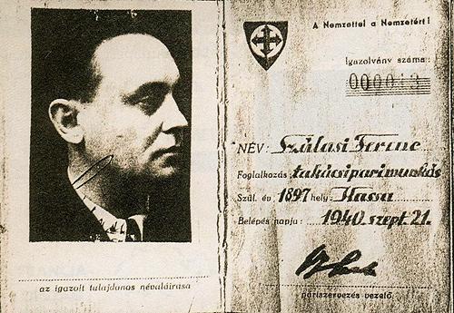 Szálasi Mátyás párt tagsági könyve